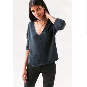 BDG V Neck Oversized Pocket Sweater
